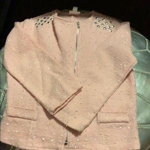 Disney collarless blazer, pink, M, EUC